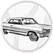 1964 Chevrolet Impala Car Illustration Round Beach Towel