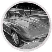 1964 Chevy Corvette Coupe Bw Round Beach Towel