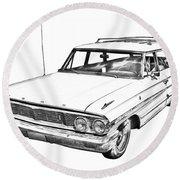 1964 Ford Galaxy Country Stationwagon Illustration Round Beach Towel
