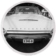 1964 Ford Thunderbird Painted Bw Round Beach Towel