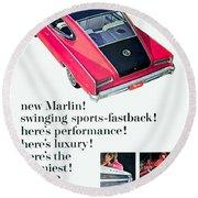 1965 - Rambler Marlin - Automobile Advertisement - Color Round Beach Towel