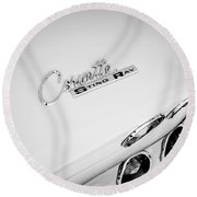 1965 Chevrolet Corvette Convertible Sting Ray Taillight Emblem -0396bw Round Beach Towel