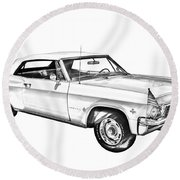 1965 Chevy Impala 327 Convertible Illuistration Round Beach Towel