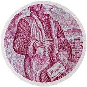 1965 Dante Anniversary Stamp Round Beach Towel