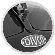 1965 Divco Milk Truck Hood Ornament 3 Round Beach Towel
