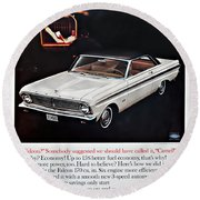 1965 Ford Falcon Ad Round Beach Towel