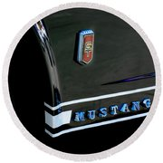 1965 Ford Mustang Gt Convertible Emblem Round Beach Towel