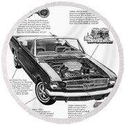 1965 Ford Mustang Performance Kits Round Beach Towel