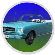1965 Mustang Convertible Round Beach Towel
