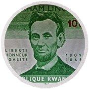 1965 Rwanda Abraham Lincoln Stamp Round Beach Towel
