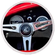 1965 Shelby Ac Cobra Roadster 289 Steering Wheel Emblem Round Beach Towel