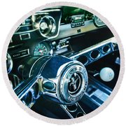 1965 Shelby Prototype Ford Mustang Steering Wheel Emblem 2 Round Beach Towel
