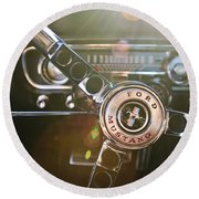 1965 Shelby Prototype Ford Mustang Steering Wheel Emblem Round Beach Towel by Jill Reger