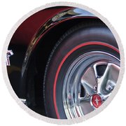 1965 Shelby Prototype Ford Mustang Wheel And Emblem Round Beach Towel