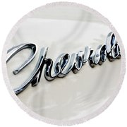 1966 Chevrolet Biscayne Emblem -0101c Round Beach Towel