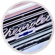 1966 Chevrolet Biscayne Front Grille Round Beach Towel