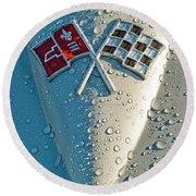 1966 Chevrolet Corvette Sting Ray Hood Emblem Round Beach Towel