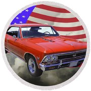 1966 Chevy Chevelle Ss 396 And United States Flag Round Beach Towel