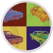 1966 Chevy Chevelle Ss 396 Car Pop Art Round Beach Towel