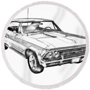1966 Chevy Chevelle Ss 396 Illustration Round Beach Towel