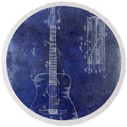 1966 Fender Acoustic Guitar Patent Drawing Blue Round Beach Towel