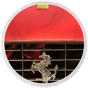 1966 Ferrari 330 Gtc Coupe Hood Ornament Round Beach Towel