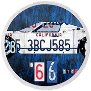 1966 Ford Gt40 License Plate Art By Design Turnpike Round Beach Towel