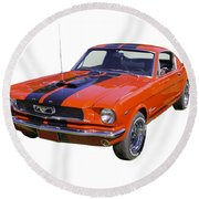 1966 Ford Mustang Fastback Round Beach Towel