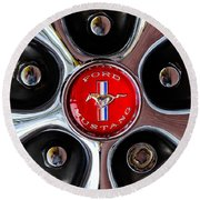 1966 Ford Mustang Gt Wheel Emblem Round Beach Towel