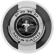 1966 Ford Mustang Shelby Gt 350 Emblem Gas Cap -0295bw Round Beach Towel