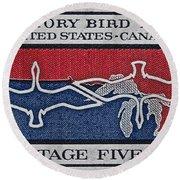 1966 Migratory Bird Treaty Stamp Round Beach Towel