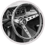 1966 Mustang Dashboard Bw Round Beach Towel