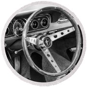 1966 Mustang Dashboard Bw Round Beach Towel