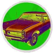1966 Pointiac Lemans Car Pop Art Round Beach Towel