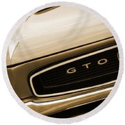 1966 Pontiac Gto In Sepia Round Beach Towel