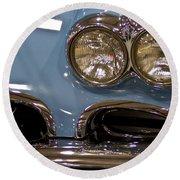 1967 Blue Corvette-front Left Round Beach Towel