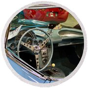 1967 Blue Corvette-interior And Wheel Round Beach Towel