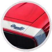 1967 Chevrolet Camaro Ss 350 Convertible Hood Emblem Round Beach Towel