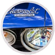 1967 Chevrolet Camaro Ss 350 Headlight - Hood Emblem  Round Beach Towel