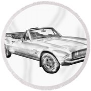1967 Convertible Camaro Car Illustration Round Beach Towel