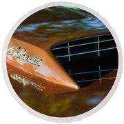 1967 Ford Mustang Cobra Jet Hood Emblem Round Beach Towel