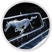 1967 Ford Mustang Gt Grille Emblem Round Beach Towel
