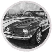1967 Ford Shelby Mustang Gt500 Painted Bw Round Beach Towel