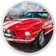 1967 Ford Shelby Mustang Gt500 Painted  Round Beach Towel
