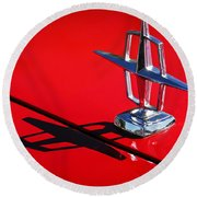 1967 Lincoln Continental Hood Ornament -1204c Round Beach Towel