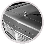 1967 Lincoln Continental Hood Ornament - Emblem -646bw Round Beach Towel