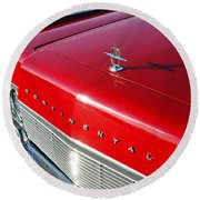 1967 Lincoln Continental Hood Ornament - Emblem -646c Round Beach Towel