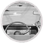 1967 Lincoln Continental Steering Wheel -014bw Round Beach Towel