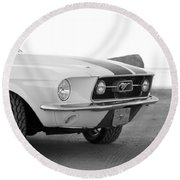 1967 Mustang Front In Black Round Beach Towel