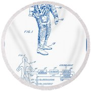1967 Nasa Astronaut Ventilated Space Suit Patent Art 2 Round Beach Towel